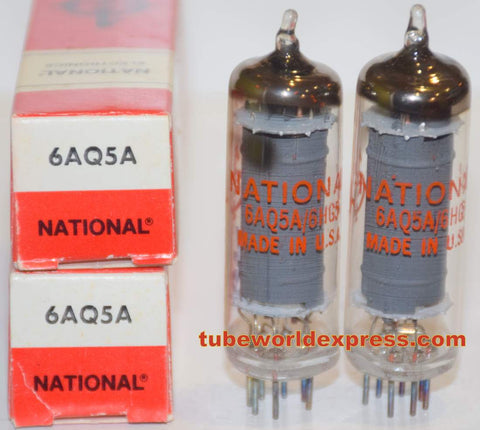 (!!) (~ Best GE Pair ~) 6AQ5A GE NOS rebranded National 1970's (49.6ma and 50ma)