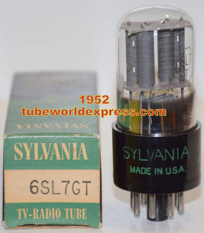 (!!!) (Recommended Sylvania Single) 6SL7GT Sylvania round gray plates NOS 1952 1% section balance (2.6/2.6ma)