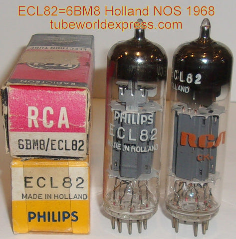 (!!) (#2 6BM8 Holland Pair 1968) ECL82 Philips Holland made in Belgium NOS 1968 (matched on Amplitrex)