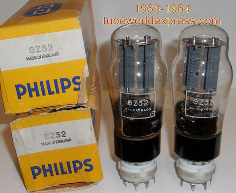 (!!) (#1 GZ32 Pair from 1963-1964) GZ32 Philips UK (Thorn AEI Radio Valve Co.) NOS 1963-1964 (60-61/40 and 61-61/40)