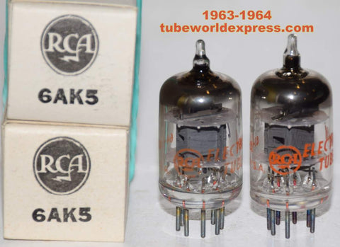 (!!!) (Recommended Pair) 6AK5 RCA gray plate NOS 1963-1964 (10.3/10.2ma)