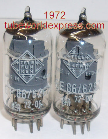 (!!!) (#1 EF86 pair) EF86 Telefunken Germany <> bottom gray shield 1972 NOS in white boxes (3.6/3.4ma)
