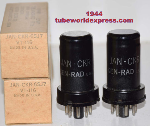 (!!!) (Best Pair) JAN-CKR-6SJ7 Ken Rad metal can NOS 1944 (15 pairs in stock)