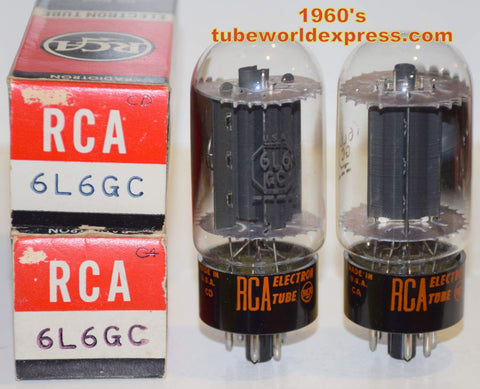 (!!!!!) (Best Overall Pair) 6L6GC RCA black plate NOS 1960's (76.6ma and 77.5ma)