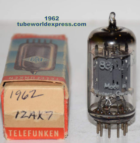 (!!!!) (Best Single 1962) 12AX7=ECC83 Telefunken Germany <> bottom smooth plates NOS 1962 (1.0/1.0ma and Gm=1550/1600) (EAR, Manley, AKG)