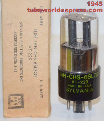 (!!!!) (Recommended Single 1945) VT-229=JAN-CHS-6SL7GT Sylvania round black plates NOS 1945 (2.6/2.7ma) close triode balance