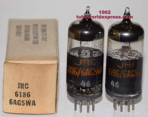 (!!) (Recommended Pair) 6186=6AG5WA RCA NOS 1962 (7.8ma and 8.3ma)