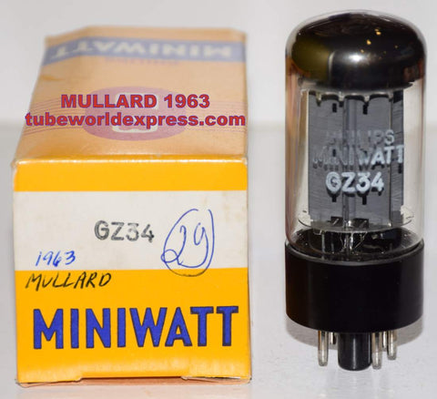 (!!!!!) (Best Mullard Single 1963) GZ34 Mullard Blackburn UK rebranded Philips Miniwatt NOS 1963 (58/40 and 58/40)