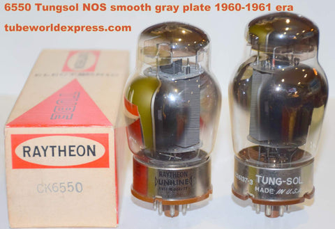 (!!!!!) (Recommended Pair) 6550 Tungsol USA NOS smooth gray plate 1960-1961 (126.5ma and 130ma)