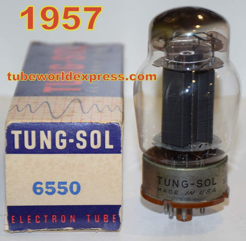 (!!!!) (Recommended Tungsol Single) 6550 Tungsol black plate like new 1957 tarnished base (130ma) (Recommended for Audio Research power supply)