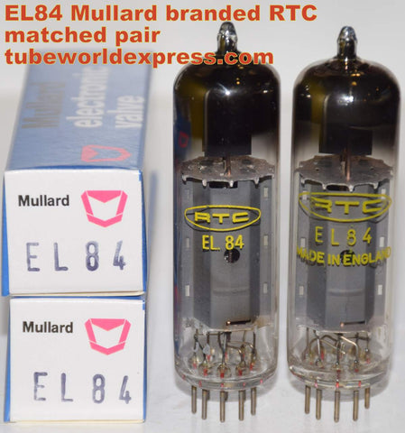 (!!!!!) (Recommended Mullard Pair) 6BQ5=EL84 Mullard UK branded RTC England NOS 1971-1978 (45.5ma and 48.0ma)