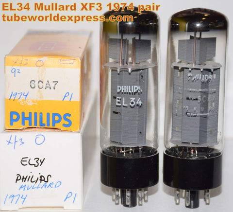 (!!!!) (Best Mullard XF3 Pair) EL34 Mullard branded Philips XF3 stapled plates NOS 1974-1975 (89ma and 90ma) 1% matched