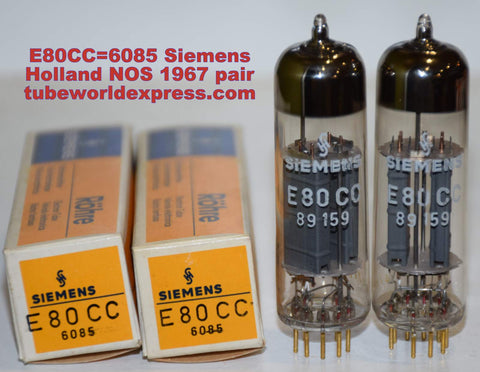 (!!!!) (BEST PAIR) E80CC=6085 Siemens Holland NOS 1967 (5.9/6.4ma and 5.5/6.6ma)