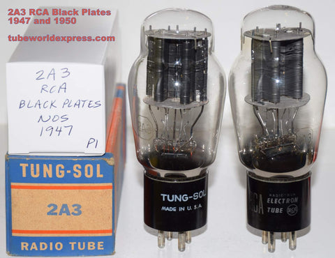 (!!!!) (Best Black Plate Pair) 2A3 RCA black plates NOS 1947 and 1950 (108ma and 113ma)