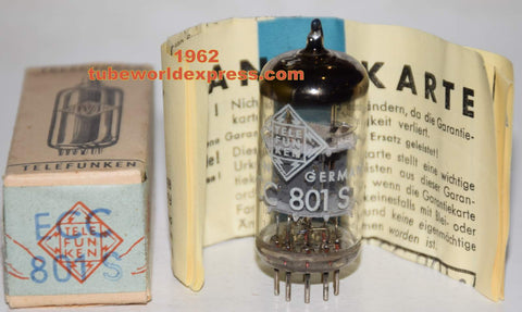 (!!!!!) (Best ECC801S Single) ECC801S=12AT7 Telefunken <> bottom NOS 1962 tube was factory sealed inside box (10.6/11.6ma) (High Ma and Gm)