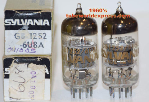 (!!!) (~ Best Pair ~) GB-1252=6U8A Sylvania Gold Brand NOS 1960's