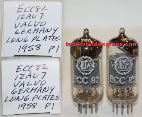 (!!!!!) (Best Long Plates Pair) ECC82=12AU7 Valvo Hamburg Germany NOS with 17MM