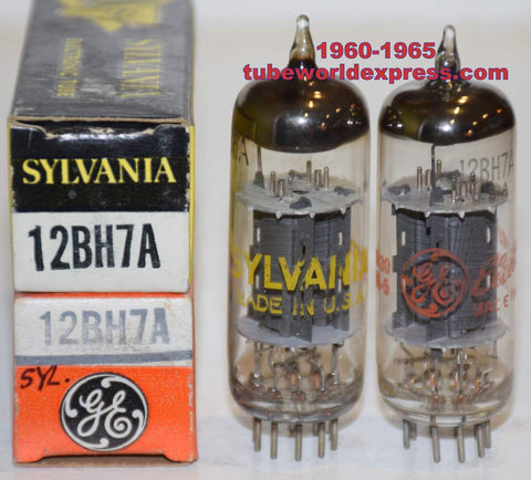 (!!!!!) (Best Overall Pair) 12BH7A Sylvania gray oval plates NOS 1960-1965 same build (10/11ma and 10.4/10.8ma) closely matched (Art Audio, Quicksilver, Octave)