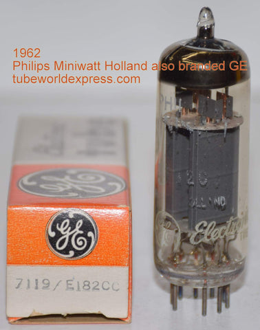 (very slightly microphonic) E182CC=7119 Philips Miniwatt Holland also branded GE NOS 1962 large