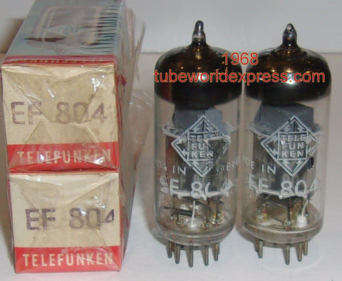 (!!!) (2nd Best Pair) EF804 Telefunken silver shield NOS 1968 (2.7/3.0ma)
