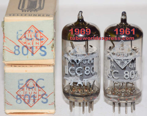 (!!!!!) (Best Overall Pair) ECC801S=12AT7 Telefunken <> bottom NOS 1961 and 1969 (9.0/9.0ma and 8.4/8.6ma) (1-3% matched)