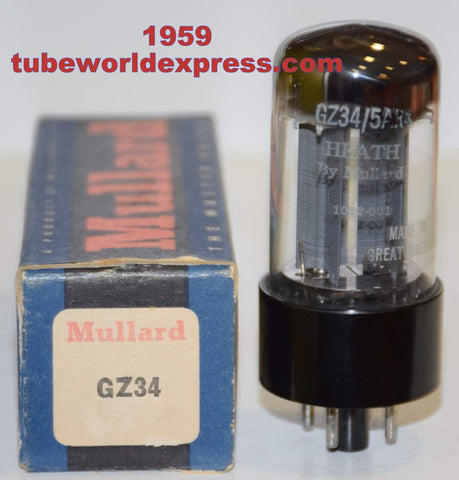 (!!!!!) (Best Mullard 1959) 5AR4/GZ34 Heath Mullard fat base like new 1959 (f31-B9E=1959) good printing (57/40 and 57/40)
