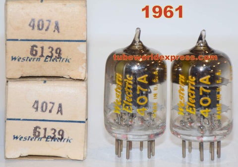 (!!!!) (Recommended Pair) 407A Western Electric NOS 1961 same date codes (43-50/26 and 44-50/26) 1-2% matched