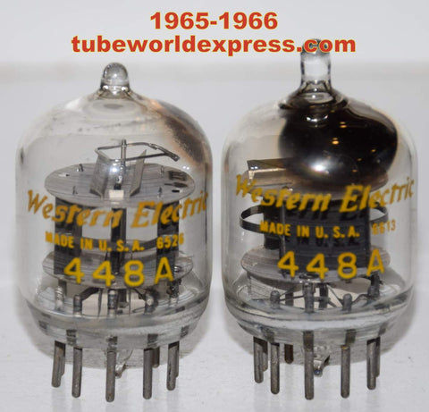 (!!!) (~ Recommended Pair ~) 448A Western Electric tipped top used/good 1965-1966 (28ma and 29.2ma) (Matched on Amplitrex)