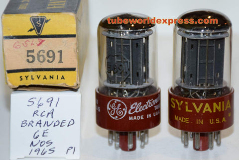 (!!!!) (Best Pair) 5691 RCA red base branded Sylvania and GE black plates NOS 1960-1965 (2.3/2.3ma and 2.2/2.4ma) 1-2% matched