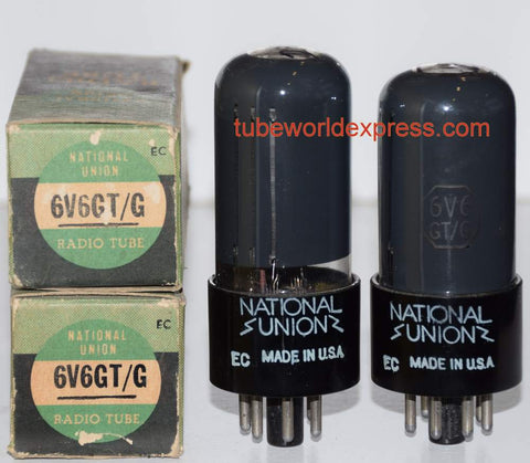 (!!!) (#1 6V6GT National Union Pair 1950) 6V6GT National Union coated glass NOS 1950 (55.4ma and 56ma) (Highest Ma and Gm)
