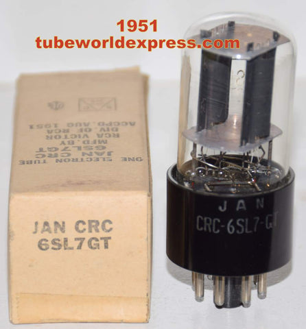 (!) (slightly microphonic) JAN-CRC-6SL7GT RCA NOS black plates 1951 tilted glass (2.0/2.2ma)