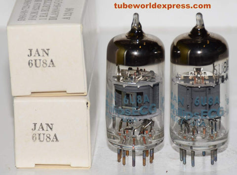 (!!!!) (Recommended Pair) 6U8A Philips by Sylvania NOS 1986 (17.3/16.8ma and 9.5/10ma)