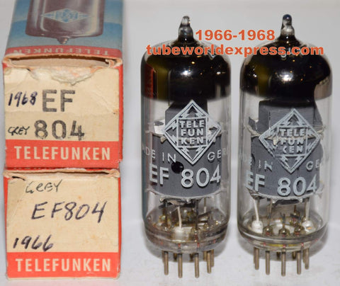 (!!!!) (Best Overall Pair) EF804 Telefunken Germany <> Bottom gray shield NOS 1966-1968 (3.3ma and 3.3ma) 1% matched