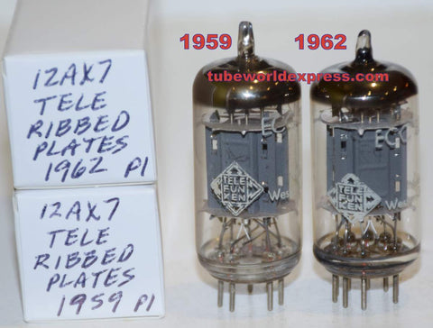(!!!!!) (Recommended Pair) 12AX7 Telefunken Germany ribbed plates NOS 1959-1962 (Gm=1500/1650 and 1600/1600)