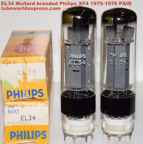 (!!!) (Recommended XF4 Pair) EL34 Mullard branded Philips NOS XF4 1975-1976 (84ma and 88ma)
