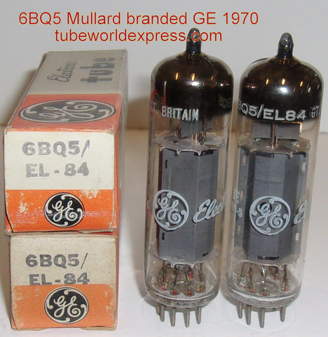 (!!!!!) (Best Mullard Pair) 6BQ5=EL84 Mullard UK branded GE NOS 1970 same date codes (44ma and 46ma)