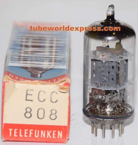 (!) (Best Value) ECC808=6KX8 Telefunken Diamond Bottom NOS faded printing from rubbing inside box 1970 (.9/1.0ma Gm=1500/1600)