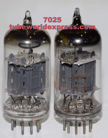 (!!!) (Good Value Pair) 7025 RCA gray used/good 1960's (Gm=1500/1500 x 2 tubes) 1% matched