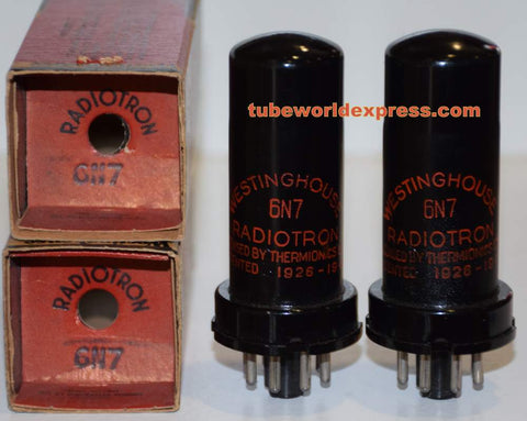 (!!) (#2 6N7 Pair) 6N7 Westinghouse Radiotron Canada metal can NOS 1950's (2.4/2.6ma and 2.4/2.8ma)