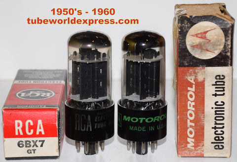 (!!!!) (#1 6BX7GT GE Pair 1960 era) 6BX7GT GE NOS branded RCA and Motorola NOS 1960 era (65/70ma and 65/72ma) 1-2% matched