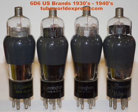 (1 set of 4 tubes) 6D6 Brands used/good 1930's - 1940's (set of 4)