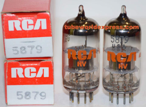 (!!) (~ Recommended Pair ~) 5879 Sylvania branded RCA NOS 1970's (1.6ma and 1.6ma)