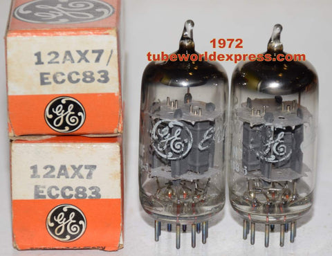 (!!!!!) (Best Overall Pair) 12AX7 GE NOS 1972 (1.4/1.6ma and 1.5/1.5ma) (Matchless, Fender, Tow-Rock, Dumble, VOX, Supro)