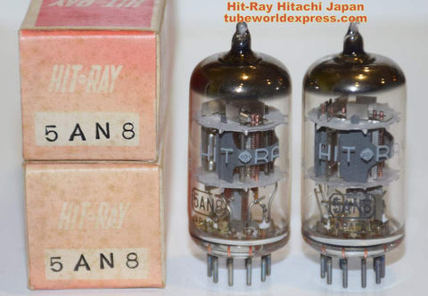 (!!) (#1 5AN8 Pair) 5AN8 Hit-Ray by Hitachi Japan NOS 1960's sub for 6AN8 (1 pair)
