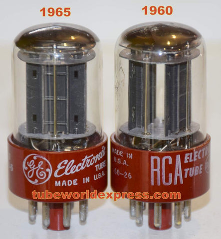 (!!!!!) (Best Pair) 5691 RCA red base black plates NOS 1960-1965 (2.5/2.6ma and 2.5/2.6ma) 1-2% matched