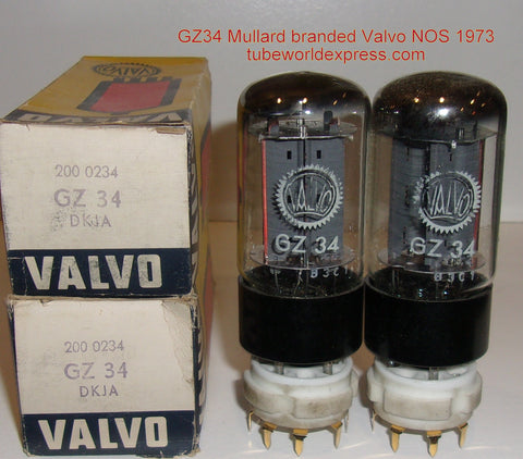 (!!!!) (#1 GZ34 Mullard Pair) GZ34 Valvo by Mullard NOS 1973 (58/40 x 4 sections)
