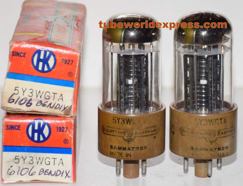 (!!!!) (Recommended Pair) 6106 Bendix NOS 1950's rebranded 5Y3WGTA Heintz & Kaufman partially faded printing (66-69/40 x 2 tubes)