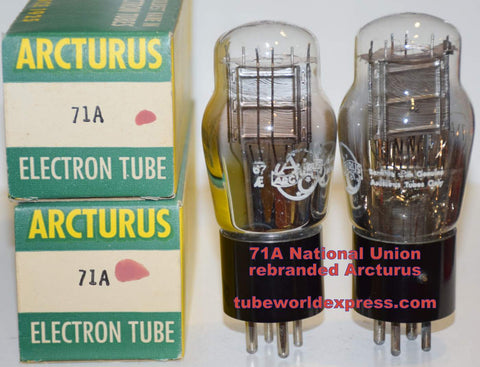 (!!!!) (Best Overall Pair) 71A National Union NOS 1940's rebranded Arcturus in 1967 (28ma and 29ma) (Highest Ma and Gm)