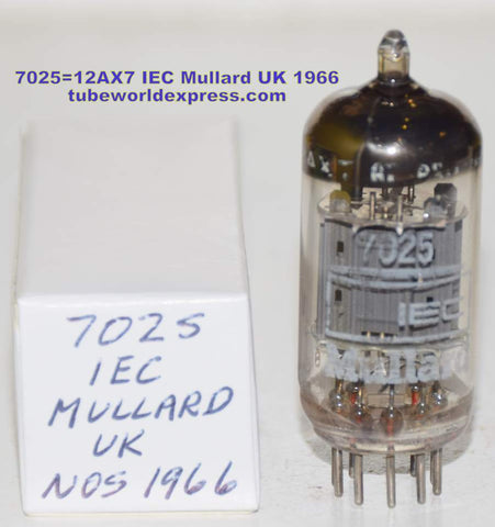 (!!!!!) (Recommended Single) 7025=12AX7 IEC Mullard UK NOS 1966 (1.2/1.4mA and Gm=1700/1800)