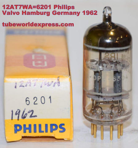 (!!!!) (Best 12AT7 Single) 12AT7WA=6201 Philips by Valvo Hamburg Germany gold pins NOS 1962 (12.4/13.0ma)